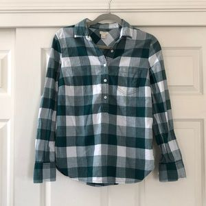 J. Crew half button up flannel top